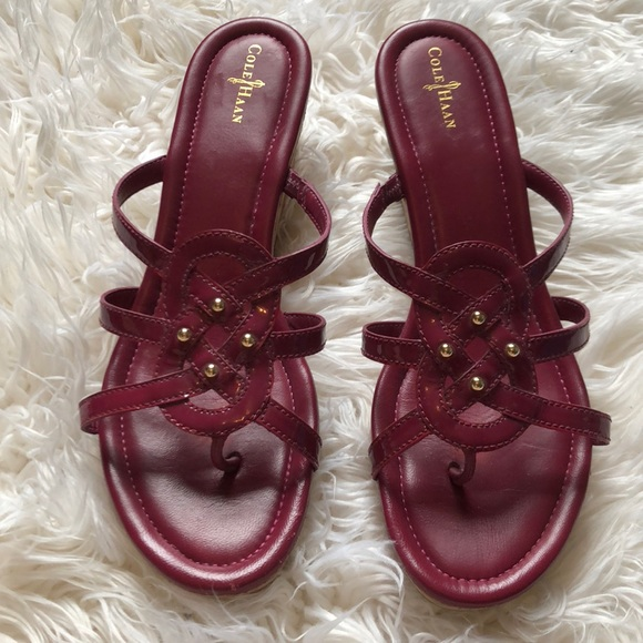 Cole Haan Shoes - Cole Haan Patent Leather SHAYLA Wedges Raspberry 9